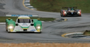The no. 20 of Dyson Racing and no. 37 of Intersport Racing turn the corner at turn five at Road Atlanta in Braselton, Ga., at the Petit Le Mans race on Saturday, Sept. 26, 2009. The 10-hour endurance race was later red-flagged around the 6-hour mark and finished under red. (Photo/Jackie Reedy, jackiereedy@gmail.com)