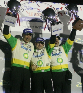 Ben Devlin, Butch Leitzinger and Marino Franchitti celebrate their first Petit Le Mans victory in the LMP2 class on Saturday, Sept. 26, 2009 at Road Atlanta in Braselton, Ga. The 10-hour endurance race was red-flagged around the 6-hour mark and finished under red. (Photo/Jackie Reedy, jackiereedy@gmail.com)