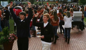 Hunter Chapman, 19, an engineering major at the University of Georgia, and Cole Phillips, 20 a bio-chemistry major at the University of Georgia, listen to the band at Gamma Phi Beta's 16th Annual Chili Cook-off on Sunday, Oct. 25, 2009 in Athens, Ga. Teams compete at the cook-off for the first, second and third place Best Tasting Chili Award, the People's Choice Award and the Most Creative Table Décor Award.